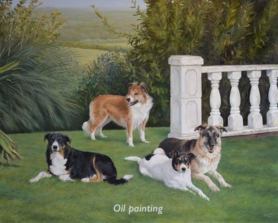 F&S Gift Store Custom Dog portrait, Pet portrait, Dog Painting, Dog Art - MULTIPLE dogs & landscape - oil painting 40x30 inches, from your photos