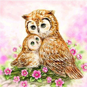 F&S Diamond Painting Store Owls Brown 25x25cm