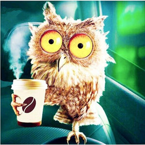 F&S Diamond Painting Store Owl with Coffee 25x25cm