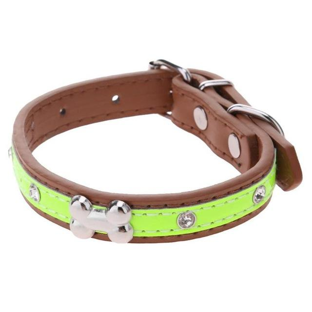 F&S Adjustable PU Leather Collar  for Small Medium Dogs