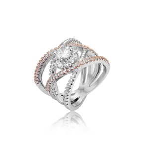 Creative Cross Pattern Zircon Ring