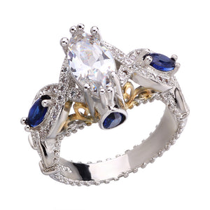 Luxury Inlaid Blue Cubic Zircon Alloy with 18k Gold Ring Plated