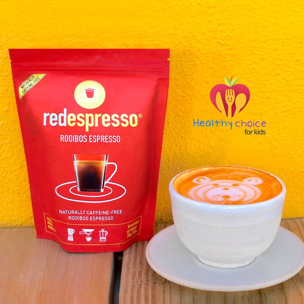 rooibos in a yellow background, rooibos in a cup and a logo informing that red espresso is a good choice for kids
