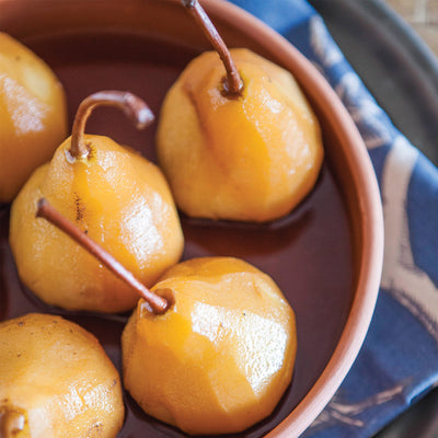 Rooibos red poached pears