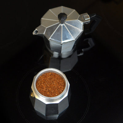ground rooibos in a italian press appliance