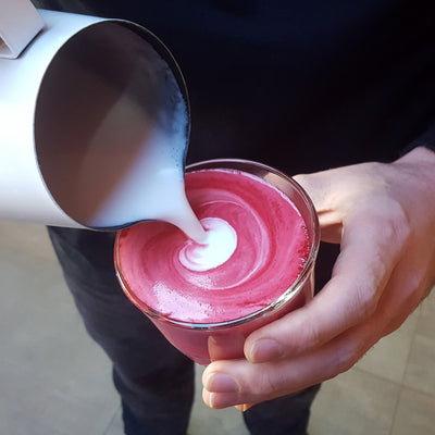 beetroot latte mix drink from red espresso brand
