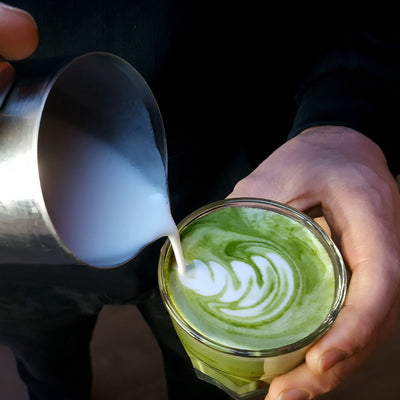 green tea matcha latte mix drink