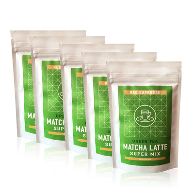 green tea matcha latte mix pack with 5 unirs from red espresso brand