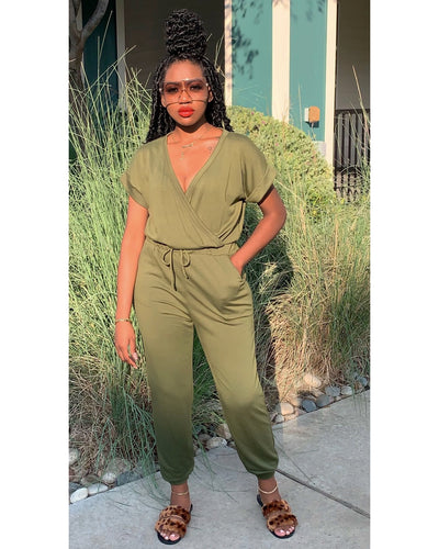 "The ""Fall Chill"" Jumpsuit (Olive)"