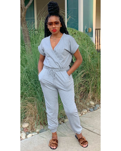 "The ""Fall Chill"" Jumpsuit (Heather Grey)"