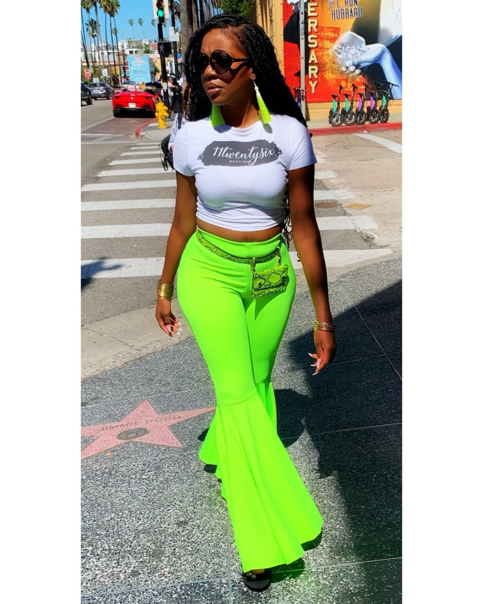 "The ""Flirty Flare"" Pants  (Neon Lime)"