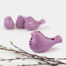 Įkelkite nuotrauką į Galerijos peržiūrą, Purple Bird Figurine for Wedding Table Centerpiece, Ceramic Cake Topper, Pottery Anniversary Gift, Spring Dinner Table Decor