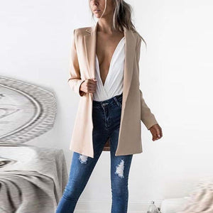 Narrow  Notch Lapel Plain  Autumn Blazers Jacket