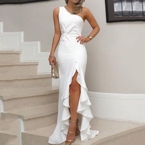 One Shoulder Cutout Flounce Inverted Pleat Plain Evening Dress