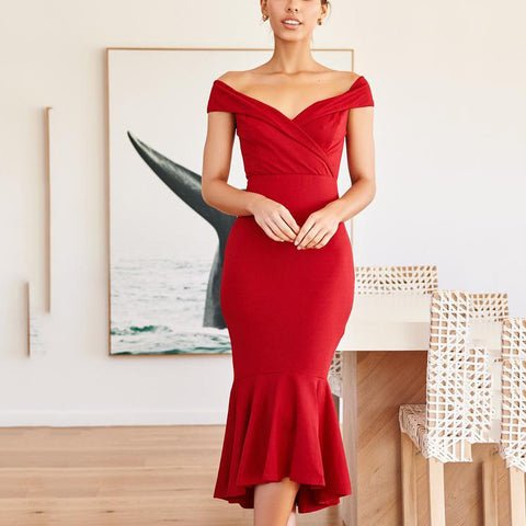 Off-The-Shoulder Stitching Sexy Slim Bodycon Dress