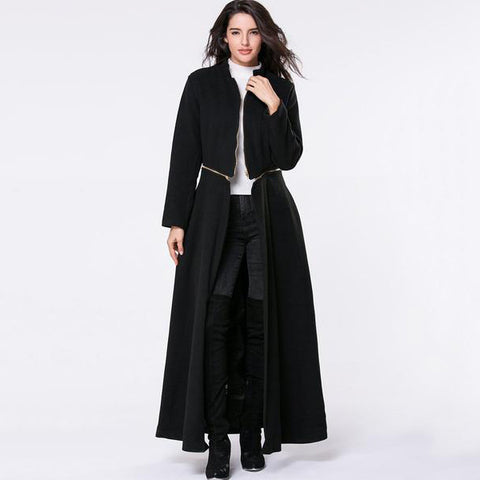 Band Collar  Zips  Snap Front Plain Duster Cardigan