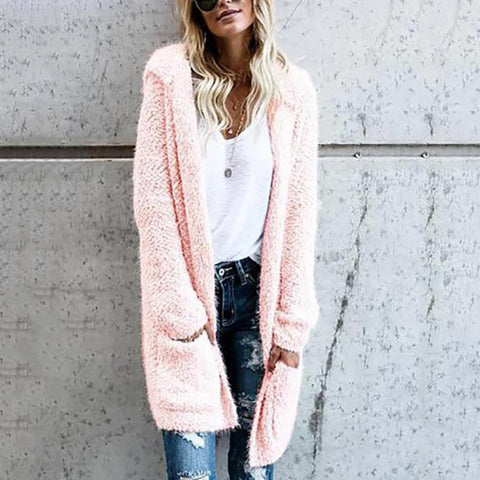 Mid-Length Knit Solid Color Plush Cardigan