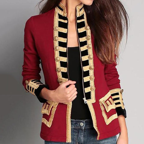 Fashion Long Sleeve Pure Colour Splicing Jacket
