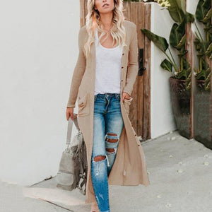Sexy V-Neck Pure Color Knitted Cardigan