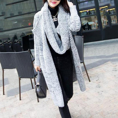 Lapel Patch Pocket Longline Sweater Cardigan With Scarf
