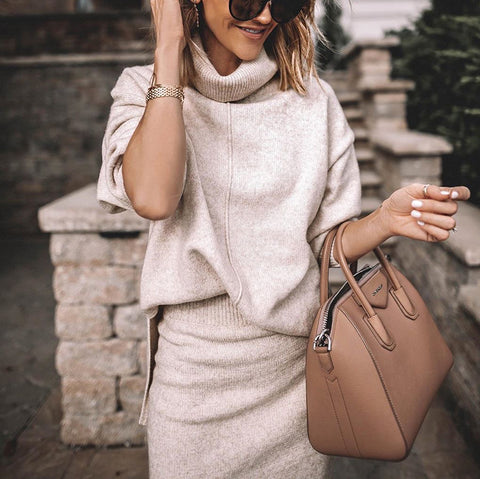 Casual Pure Color High Neck Side Slit Sweater