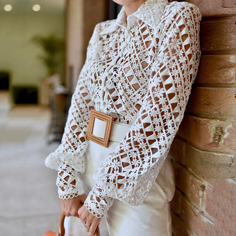 sexy see-through hollow out white long puff sleeves shirt