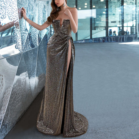 Solid Color Sexy Split Sequined Evening Dress