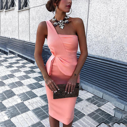 Sexy Pink One Shoulder Sleeveless Bodycon Dress