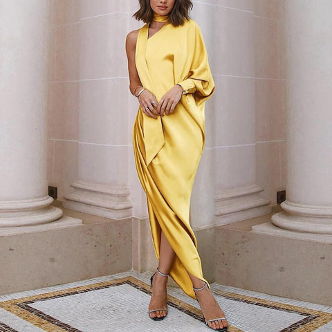 Elegant One-Shoulder Princess Sleeve Party Dress Bodycon Dress