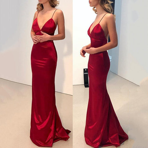 Sexy Red Plain Sleeveless Evening Dress