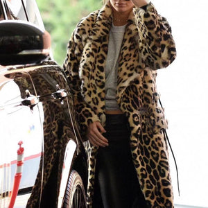 Fashion Lapel Long Sleeve Leopard Fur Maxi Coat