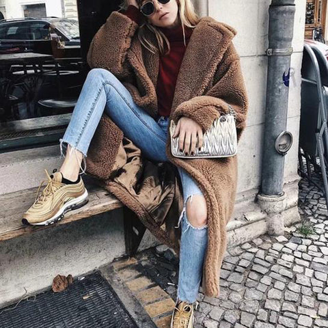Autumn And Winter Fashion Pure Color Loose Casual Lapel Warm Cardigan