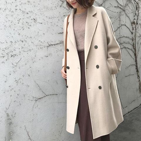 New Mid-Length Double-Sided Cashmere Woolen Coat