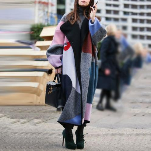 Mixed Coat Womens Long Wool Coat Street Style