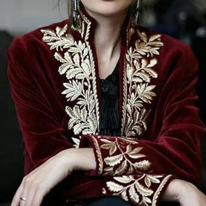 Fashion Floral Pattern Inwrought Long Sleeve Jacket