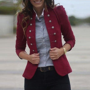 Double-Breasted Solid Color Long-Sleeved Jacket