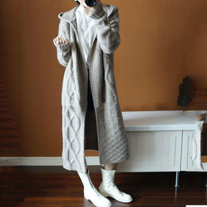Fashion Winter Plain Thicken Sweater Loose Long Coat