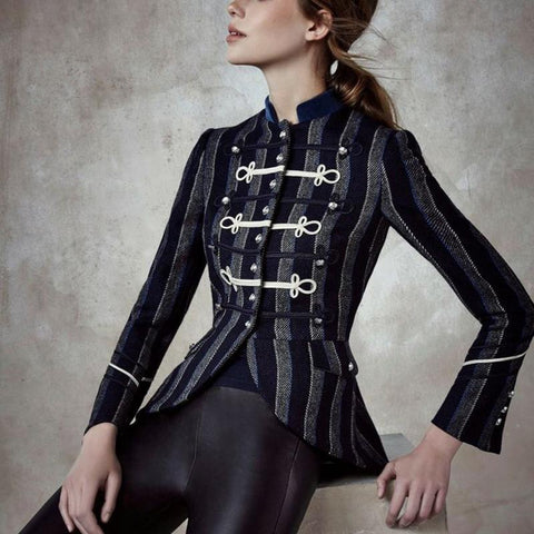 Fashion Striped   Inwrought Long Sleeve Jacket