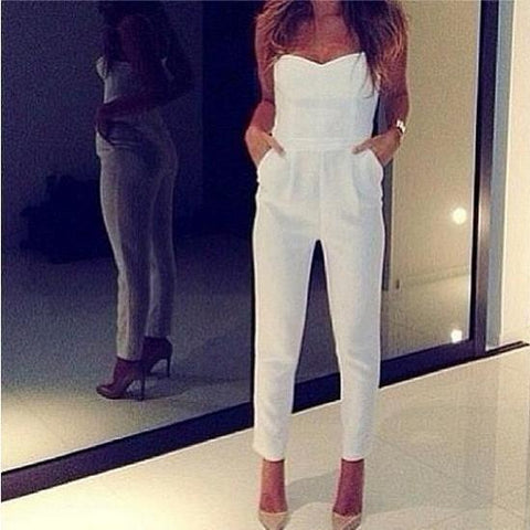 2019 New Sexy Off Shoulder Plain Slim Jumpsuit