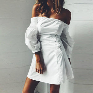 Off Shoulder Receive The Waist Strappy Three Quarter Sleeve Dress