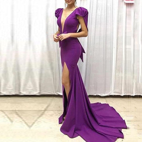 Fashion Sexy Deep V Split   Evening Dress Long Dress