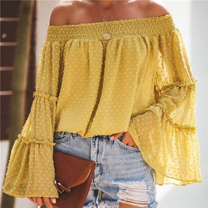 Sexy One Word Collar Bell Sleeve Blouse