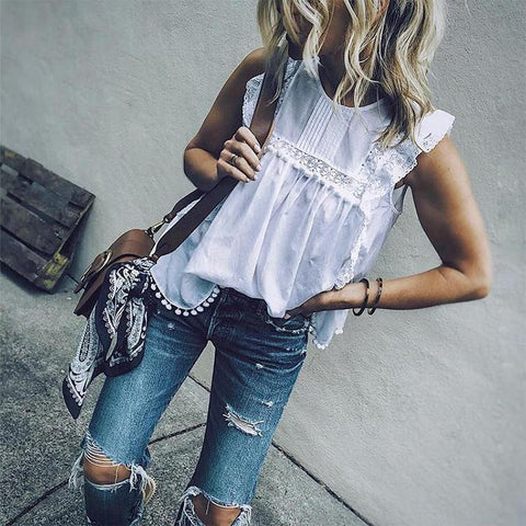 Round Neck Sexy Sleeveless Lace Blouse