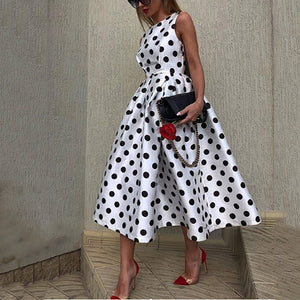 Commuting Round Neck Sleeveless Splicing Polka Dot Maxi Dress