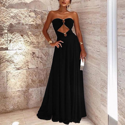 Sexy Sleeveless Bare Back Off-Shoulder Splicing Dress