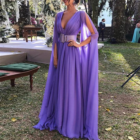 Sexy Deep V Collar Solid Color Evening Dresses