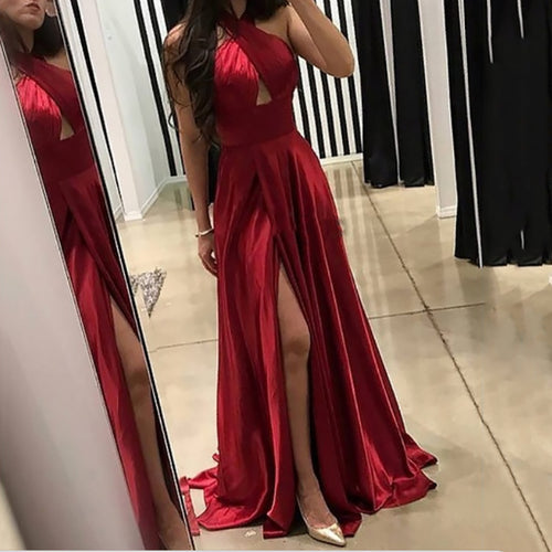Sexy Pure Colour Sleeveless Cross Slit Off-Shoulder Evening Dress