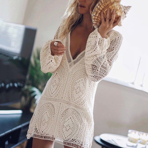 Elegant V Neck Long Sleeve Lace Mini Dress