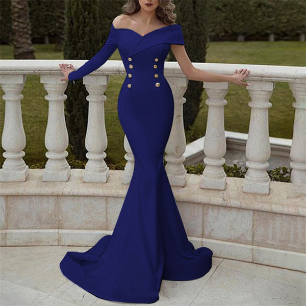Sexy Single Sleeve Double Row Buttoned Fish Tail Evening Dresses