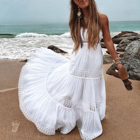 Sexy Boat Neck Off-Shoulder Sleeveless Pure Colour Maxi Dress
